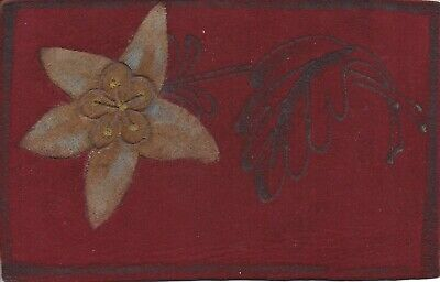 LEATHER flower and leaf on red leather ~ vintage postcard