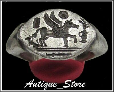 ** PEGASUS **Ancient Silver Legionary Greek Roman Ring **AMAZING **