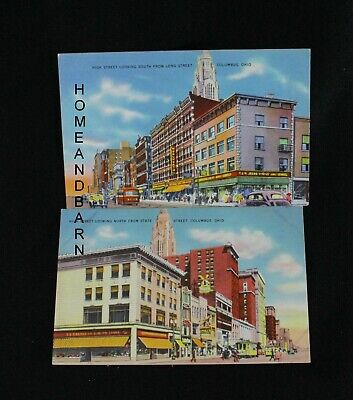 2 Old 1944 Postcard Columbus Ohio Views Of High Street Downtown Store Area