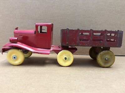 Vtg Marx or Wyandotte or Girard Pressed Steel Truck and Stake Trailer Toy Truck