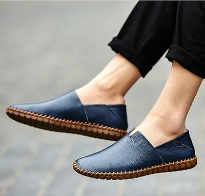 Casual Driving Soft Leather Mens  Boat Shoes Loafers Comfortable Slip On Flats