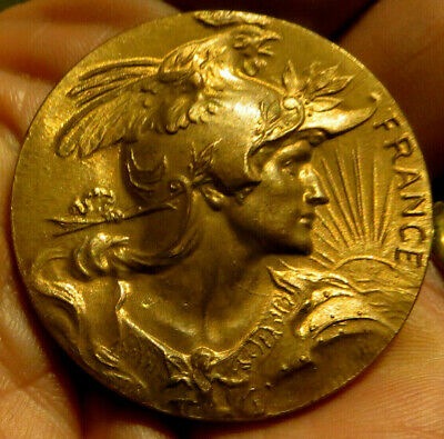 French New Art Medal: Marianne, Winged Helmet, Gallic Rooster, Putti,Rising Sun