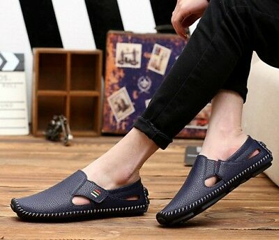 Summer Leather Flat ShoesComfy Boat Men's Shoes Slip On Driving Loafers Casual