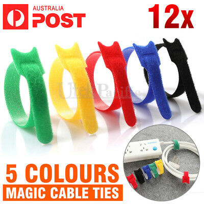 Reusable Nylon Cable Tie Hook Loop Strap Cord Ties PC Tidy Organiser Colours