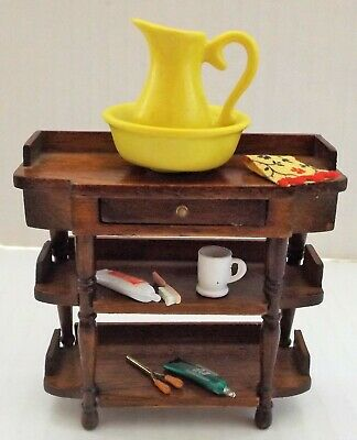 Dollhouse Miniature Wood Wash Stand & Accessories, 1:12 Scale