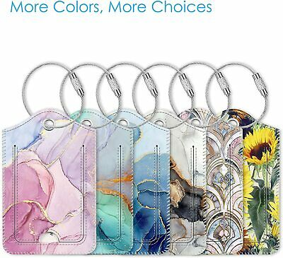 2PC Design Suitcase Leather Luggage Tags Name Address ID Holder Identifier Label
