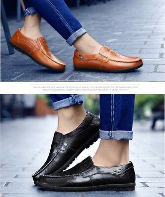 Moccasins Driving Slip On Flats Men's Casual Leather Loafers Comfort Boat Shoes