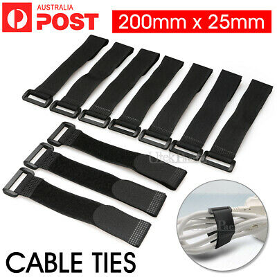 10/20X Black Strap Cable Ties Strap Cable Organizer 250mmx20mm