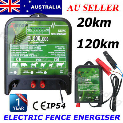 NEW 20/120km Electric Fence Energizer Enegiser Charger Poly Wire Tape Posts AU