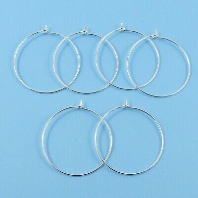 Bulk set of 20 Wine Glass Charm Findings DIY Silver Plate Select 20 or 30 mm Dia