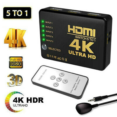 5 To 1 HDMI Splitter Switch Adapter Switcher 4K Ultra HD HDCP 3D HDR IR Remote