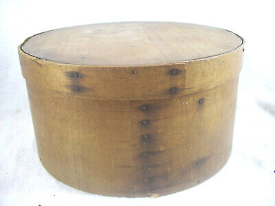 "Antique 19th C Tiger Oak Round PANTRY BOX wi/LID 8 3/4"" DIAM. & 4 3/4"" TALL AAFA"