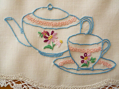 A CUP OF TEA Large Doily Table Centre Vintage Hand Embroidered