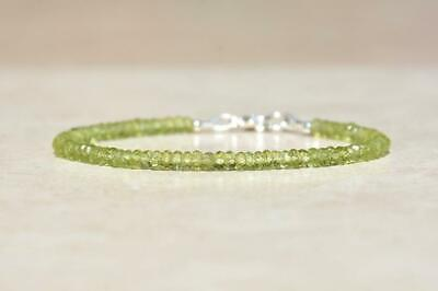 """Genuine Top Quality Green Peridot 3-4mm Rondelle Faceted Beaded Bracelet 7"""" Long"""