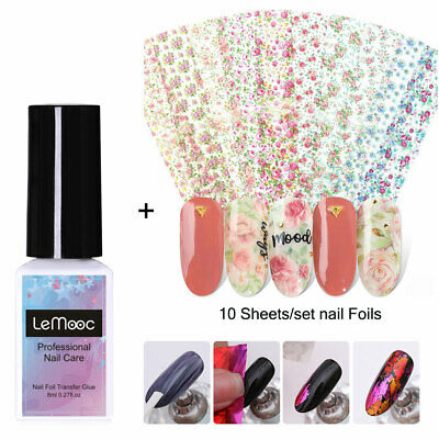 10Sheets Nail Foils Colorful Flowers with Adhesive Transfer Glue Nail Art Sets