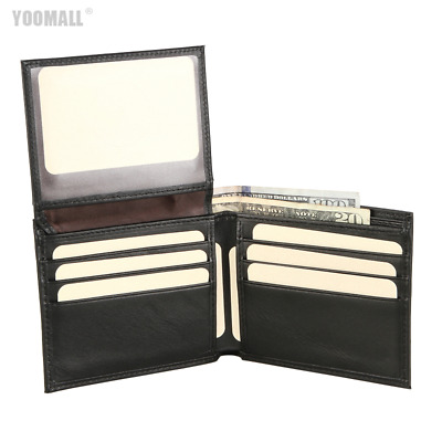 Mens Genuine Leather Bifold Wallets Purse ID Credit Card Holder Wallet UK