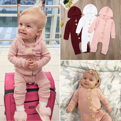 UK Newborn Baby Girl Boy Long Sleeve Knitted Cotton Hooded Romper Autumn Clothes