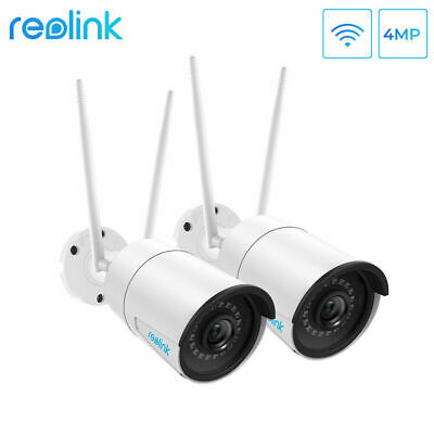 2x HD 4MP WiFi Outdoor Security Camera 2.4/5G Dual-Band Bullet Reolink RLC-410W