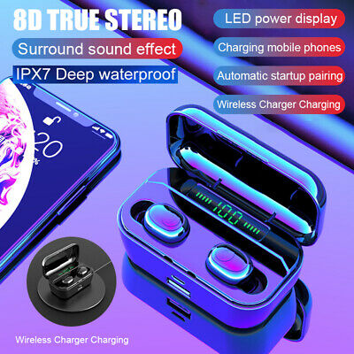 8D Stereo Mini TWS Bluetooth 5.0 Headset Wireless Earbuds Headphones Earphones