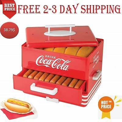 Hot Dog Steamer Cooker Food Dinner Machine Warmer Picinic Cooking Red 24-Buns
