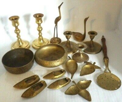 Vintage Job Lot Of Brass candle sticks Ornaments dishes shoes birds ect 17 items