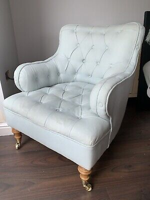 Swoon Chester Armchair - Duck Egg Blue With Castors