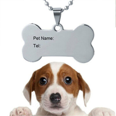 Personalized Dog Tags Engraved Cat Puppy Pet ID Name Collar Tag Bone/Paw G IMO