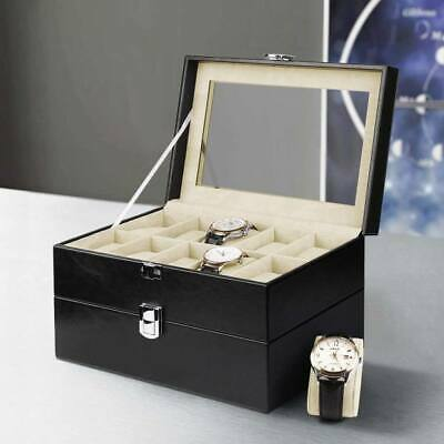 20 Grids Watch Box Display Case Jewelry Glasses Storage PU Leather Organizer