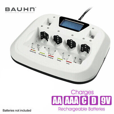 BAUHN Rechargeable LCD Universal Battery Charger with USB Port For AA AAA C D 9V