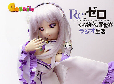 Re: Zero kara Hajimeru Isekai Seikatsu Emilia Wig Hair for Doll BJD Cosplay Sa