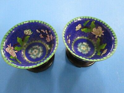 Vintage pair of Chinese  Cloisonne Bowls and on Stands