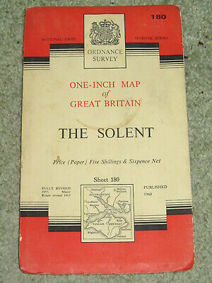 "OS Ordnance Survey 1"" Seventh Series - 180 The Solent - on paper"