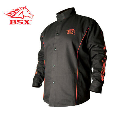 Revco BX9C-S BSX Flame-Resistant Welding Jacket - Black with Red Flames, Size Sm