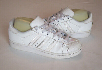 Details about ADIDAS SUPERSTAR ALL WHITE LEATHER TRAINERS SIZE 3 LADIES SUPERB