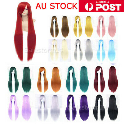 Womens 80cm Long Straight Sleek Hair Fringe Synthetic Cosplay Wig Wigs Party AU