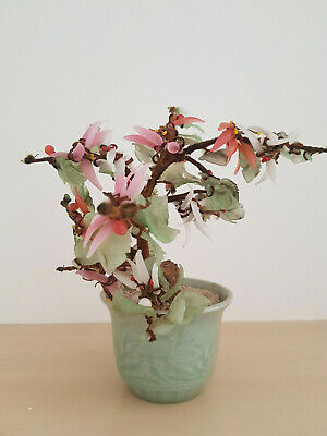 Vintage Asian Pink Green Glass Bonsai Blossom Tree In Green Ceramic Pot