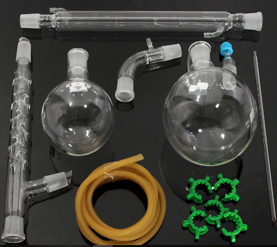 Distillation Apparatus Lab Vacuum Distill Kit Vigreux Column + Arm 1000ml 24/29