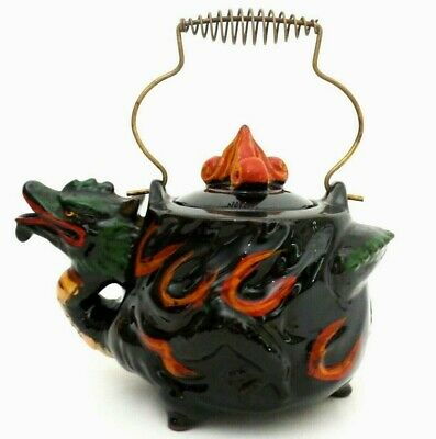 Mid-20Th C Vintage Chinese Dragon Decorated Ceramic Teapot, W/brass Wire Handle