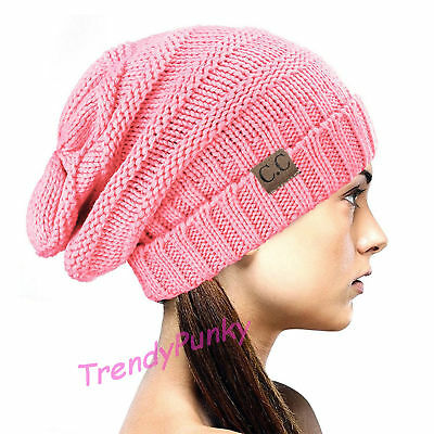 Bubble Knit Slouchy CC Baggy Beanie Oversize Winter Hat Skully Cap - Baby Pink