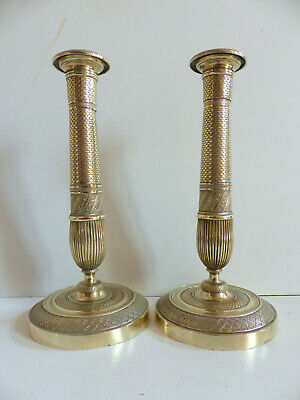 SUPERB PAIR OF ANTIQUE FRENCH EARLY 19th CENTURY BRONZE CANDLESTICKS 1820's