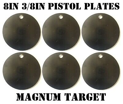 8in. NRA Pistol Shooting Targets - 3/8 Thk Steel Targets - 6pc. Metal Target Set