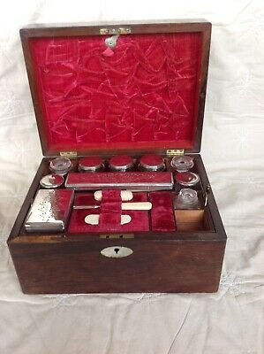 Antique Rosewood Fully Fitted Vanity Box Jewellery Casket