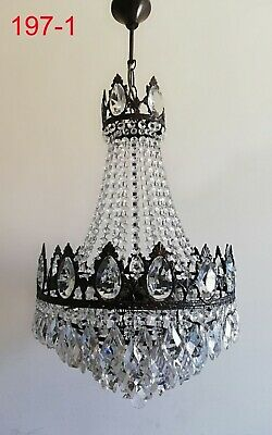 Large French Basket Style Vintage Brass & Crystals Chandelier Antique Lamp 197-1
