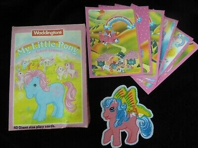 My Little Pony G1 vintage, card game, set of 6 postcards, iron patch  HTF
