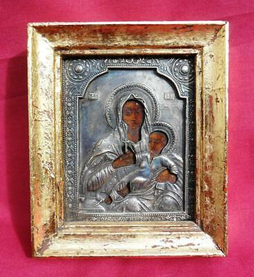 Russian Icon Theotokos of Kazan in Silver Oklad 19th Century