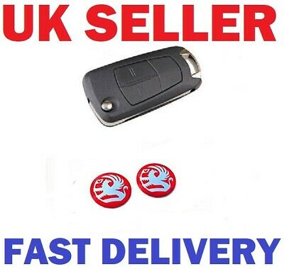 2x NEW Remote Key Fob Badge Emblem Sticker Logo for Vauxhall in Red