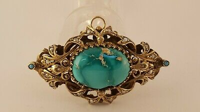 935 Sterling Silver Gold Washed Turquoise Seed Pearl Ornate Pin Pendant Filigree