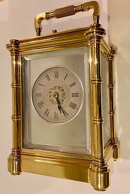 Antique Henri Jacot Bambu Cased Striking Repeater Carriage Clock Made in Paris