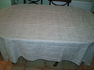 "Vintage Damask Linen Table Cloth 56"" X 83"""