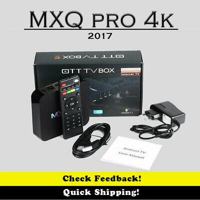 MXQ Pro 4K Ultra HD 3D 64Bit Wifi Android 7.1 Quad Core Smart TV Box + KODI 18.1